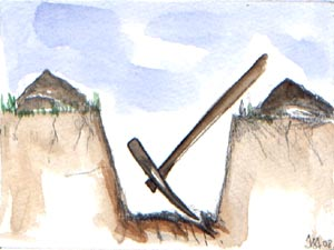 Etape 3 : piocher le fond du trou pour ameublir