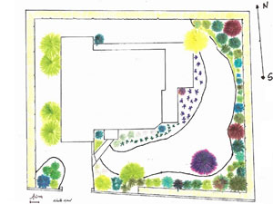 exemple de plan de création de jardin en couleur