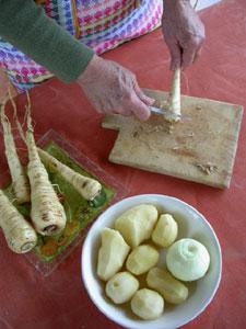 Grattage des légumes