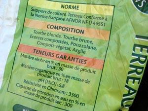 Composition d'un terreau : mentions sur l'étiquette