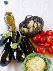 Ingrédients pour les aubergines à la provencale