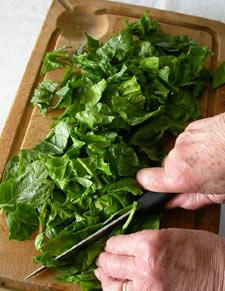 Découpe des feuilles d'épinards