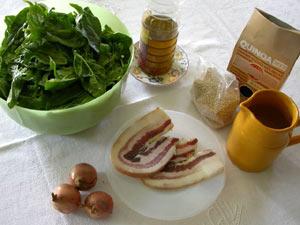 Ingrédients pour les épinards à la quinoa