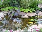 Jardin d'eau : bassin et fontaine