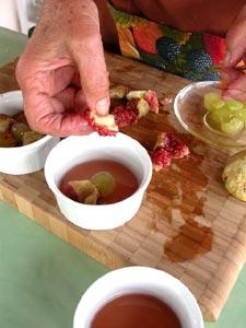 Disposition des morceaux de fruits
