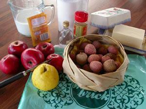 Aumônière aux litchis et aux pommes confites