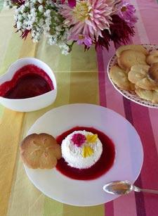 Coulis de fruits rouges, farandole de biscuits et fromage blanc