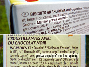 Mentions huile de palme sur paquets d'emballage