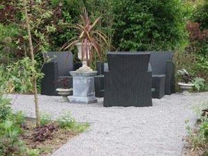 Meuble de jardin lounge en PVC tressé