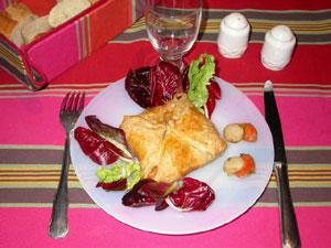 Petit panier feuilleté au poireau et noix de St Jacques
