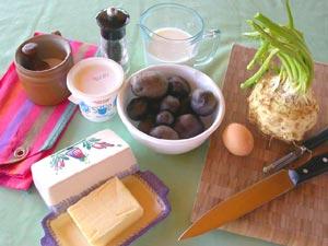 Ingrédients pour la purée de céleri et de pomme de terre