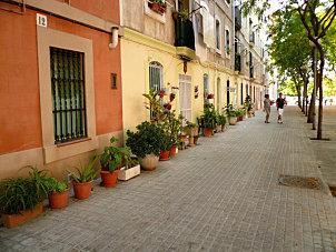 Pots sur le trottoir à Barcelone