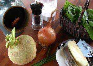 Ingrédients pour le velouté rutabaga - épinard