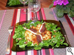 Galette de pomme de terre et sa salade de mâche