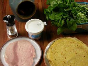 Crêpes fourrées à la crème de cresson