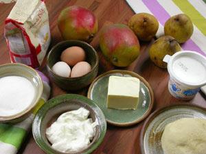 Tarte aux mangues et aux poires