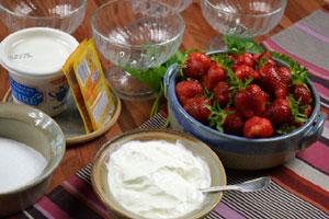 Coupes glacées aux fraises