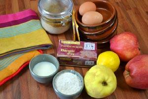Ingrédients pour la crème à la compote pomme-coing