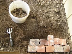 Mise en place d'une allée en briques non maçonnée