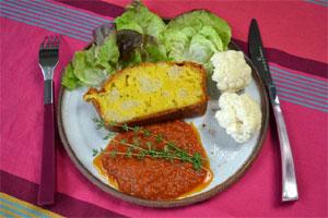 Assiette de cake chou-fleur et Comté