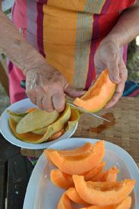 Découpe des tranches de melon