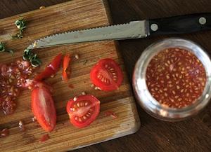 Récupération de semences de tomates