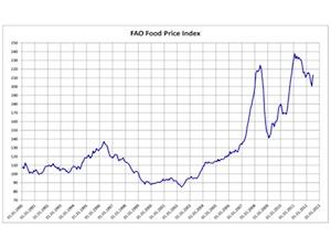 Index des prix alimentaires 1990-2012 (Source : FAO)