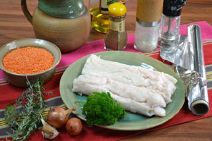 Filet de merlu lentilles corail