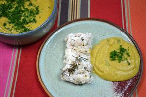 Filet de merlu aux lentilles corail - service