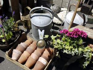 Objets pour le jardin en brocante