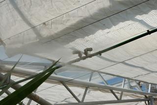 Serre : brumisateurs et voiles d'ombrage