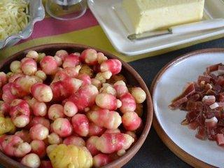 Ocas du Pérou, jambon de pays, fromage