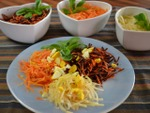 Mosaïque de carottes râpées