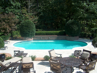 Topiaires autour d'une piscine