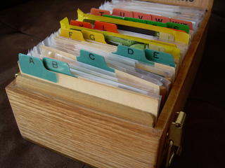 Sachets de graines classés par ordre alphabétique