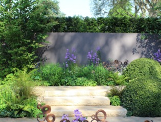 Mur doublé d'une haie en limite de jardin