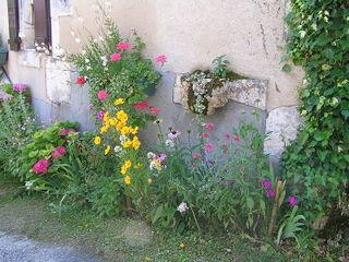 Fleurissement d'une façade de maison (Segonzac)