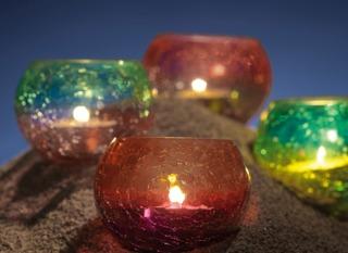 Photophores en verre coloré craquelé Nature & Découvertes