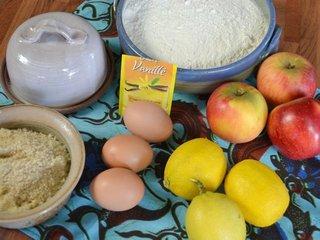 Ingrédients pour la tarte aux pommes et aux citrons / I.G.