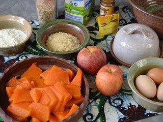 Ingrédients du clafoutis pommes-potiron / I.G.