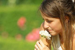 Respirer le parfum d'une rose