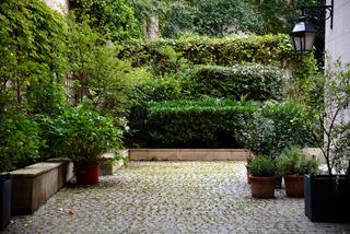 Jardin de ville : végétation étagée en arrière-plan