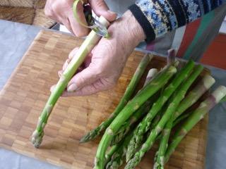 Epluchage des asperges vertes / I.G.
