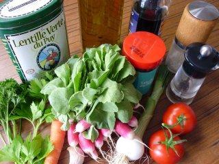Ingrédients pour la salade de lentilles / I.G.