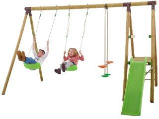 Portique bois + toboggan - 2,30 m - 5 enfants