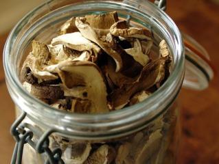 Champignons séchés stockés en bocal