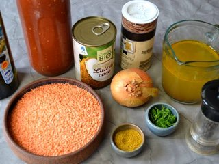 Ingrédients pour la soupe de lentilles corail / I.G.