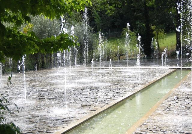 Etonnants jets d'eau autour d'un bassin (L'eau au jardin)