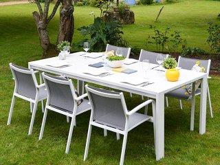 Ensemble table et chaises aluminium et textilène