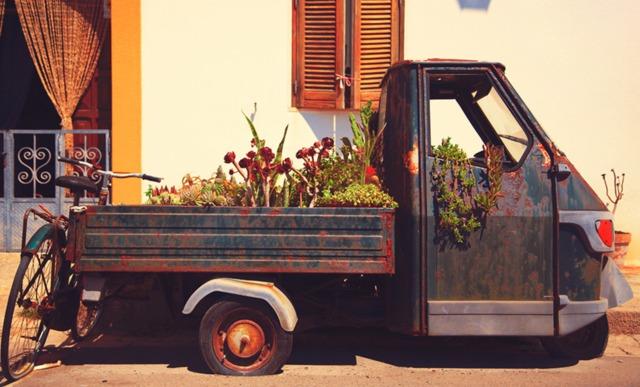 Vieux camion déguisé en jardinière